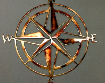 Metal Wall Art Plasma Cut Nautical Compass Silhouette Home Decor