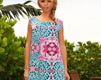 Handmade silk flower print dress