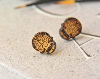 Cute Sugar Skull Wooden Lasercut Stud Earrings