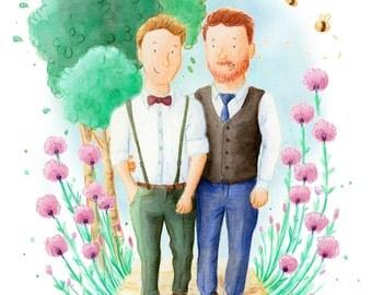 Custom Portrait Illustration, Couple Illustration,1-3 People Portrait Illustration, A4 Digital file 300dpi