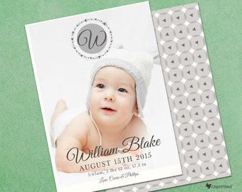 Playful Monogram Birth Announcement Card - modern, monogram, simple, geometric, full picture, portrait, baby, photo, template, newborn