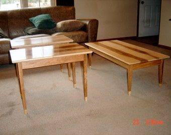 Solid Birdseye Maple and Cherry Shaker Style Table.