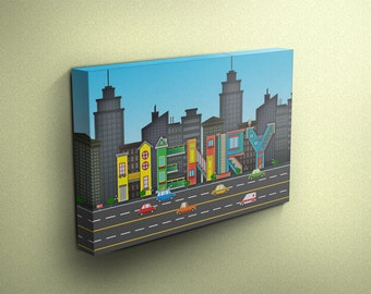 Personalised City Inspired Name Canvas