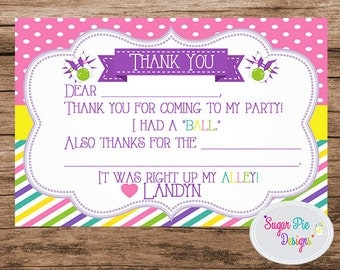 Bowling Party Thank You Card