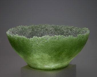 Pâte de verre green vase
