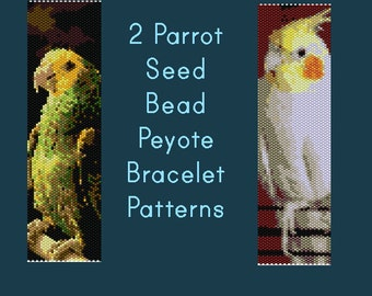 2 Parrot Themed Peyote Seed Bead Bracelet Patterns with Delica Numbers