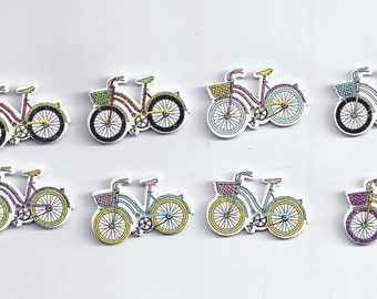 10Pcs 2 Holes bicycle Pattern Wooden Buttons Sewing Scrapbooking Craft 20*32mm 9