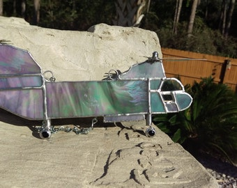 CH-46 Chinook, Transport Helicopter, Stained Glass Suncatcher