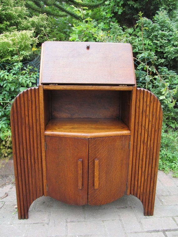 Art Deco 1940's Oak Writing Desk