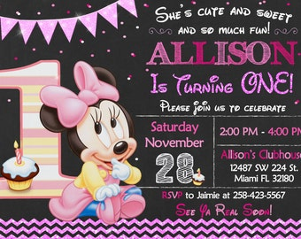 Baby Minnie Mouse First Birthday Invitation Baby Minnie Mouse Party