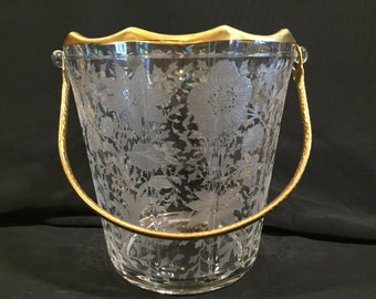 Vintage Decagon Cambridge Wildflower Etched Ice Bucket With Gold Rim And Hammered Handle