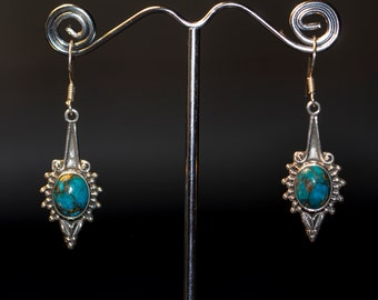 9.25 Silver Turquoise Sun Earrings