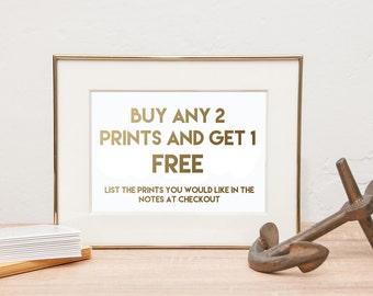 Print Sale - 2 Prints get one free - BOGO Prints - Gold Foil Prints- Gold Foil Home Decor - typography art - gold foil quotes