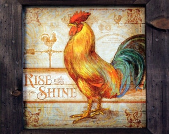 Rooster Decor Country Decor 15x15 Rooster Decor Art Print and Primitive Country Distressed Solid Wood Framed