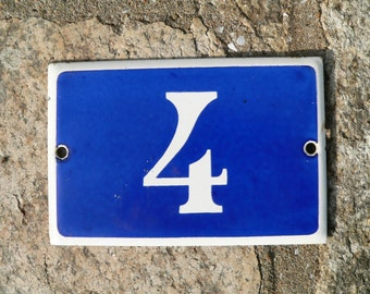 Vintage French blue and white thick enamel house or gate number 4 - No 4.