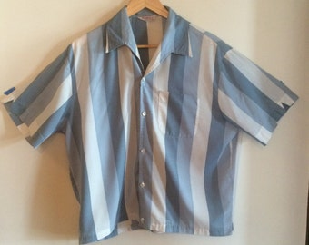 1950's  Vintage Short-sleve Blue and White Striped Shirt,