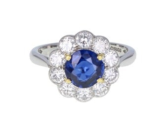 Round Sapphire and Diamond Daisy Cluster Ring in Platinum