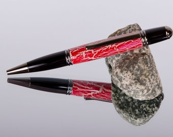 Ink Pens,Pens,Acrylic Pens,Unique Gifts,Writing Gifts,Handmade,Handturned,Writing Instruments, Red Acrylic,One of a Kind, Twist Pen #141