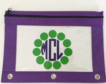 Personalized Monogram Binder/Pencil Pouch