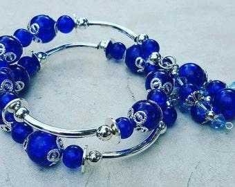 Beautiful Blue Memory Wire bracelet with Light Blue Swarovski Crystals