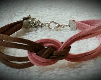 Suede sequin marine knot bracelet