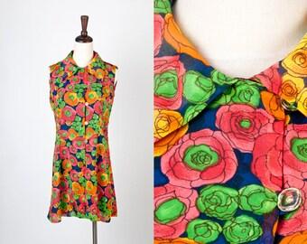 Vintage bright floral summer shift dress