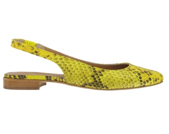 Yellow python slingback pointed toe flat, women python pointy flats, Shoes made in Italy, Women leather pointy flat, Leather ballerinas,Fred