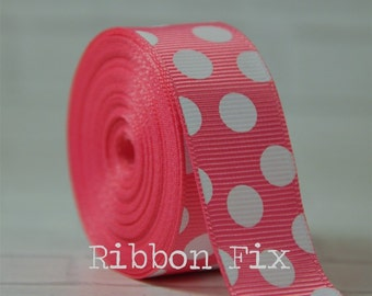 """2 yards 7/8"""" Hot Pink with White Polka Dot Grosgrain Ribbon - Wedding Shower - Baby - Gift - Craft - Sewing - Dots - Home Decor - Dog Collar"""