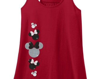 Glitter Minnie Mouse Adult Racerback Tank Top, Disney Minnie Mouse Shirt, Disney Vacation Shirt, Minnie Mouse Tshirt, Minnie Mouse Tank Top