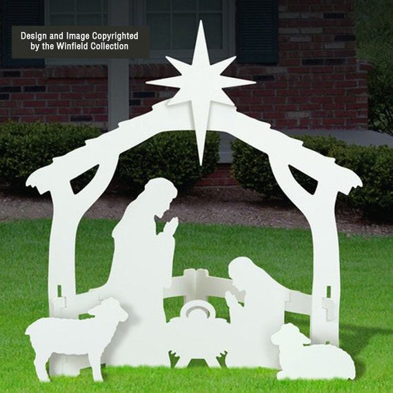 White outdoor nativity scene for Baby jesus lawn decoration