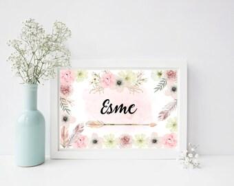 Boho Floral Name Print - Nursery Print - Baby Girl Print