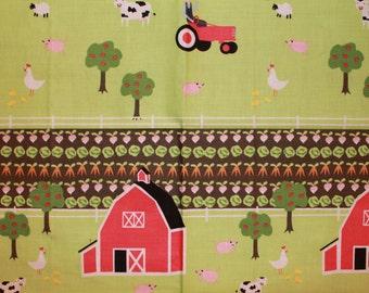 Farm Yard Cotton Fabric  Remnant 15X22