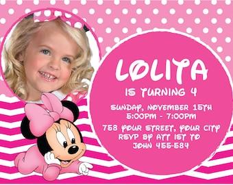 Minnie Mouse Invitation, Minnie Mouse Birthday, Disney Invitation, Minnie Mouse Invites, Minnie Mouse Invitation Printable | MS 07