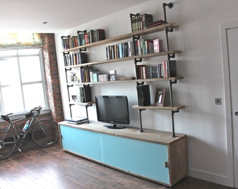 Simeon Reclaimed Scaffolding Board Storage Unit with Painted Glass Sliding Doors and Dark Steel Supported Shelving - www.urbangrain.co.uk