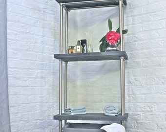 Bracken Reclaimed Scaffolding Board and Polished Steel Pipe Freestanding Bathroom Shelving/Storage Etagere Unit - bespoke urban furniture