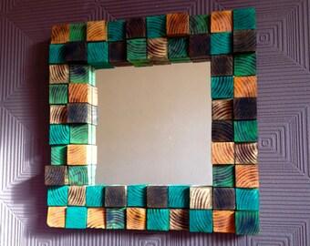 Repurposed stained block mirror . Autumn