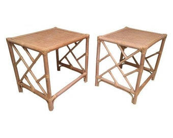 Vintage Bamboo Side Tables