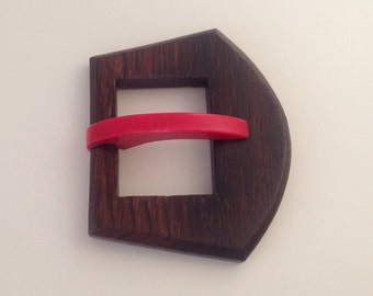Vintage Wood and Celluloid Buckle. Hot Pink. 1930.