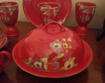 German Red Flowered China, 1970's