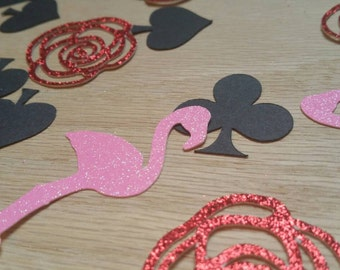 alice in wonderland decor,alice in wonderland confetti, flamingo confetti, red queen decorations, painting the roses red
