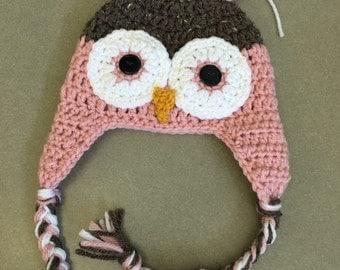 Crochet owl baby beanie