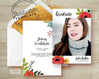 Graduation Invitation Template - Floral Graduation Card - Printable Grad Announcement - Photoshop Template - Photo Marketing Template