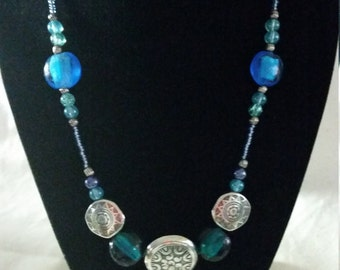 Turqouise and Purple necklace with silver accents