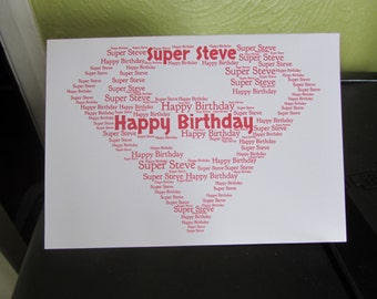Personalised Word Art Greetings Card - Superman - Superhero - Super Hero - Birthday - Anniversary - Thank You - Occasion