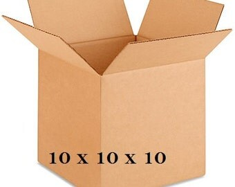 """25 Corrugated Boxes 10 x 10 x 10"""" - 200 lb. Test - Shipping Supplies - FREE SHIPPING"""