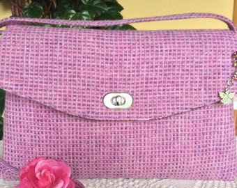 Baby Pink & Lilac Harris Tweed Bag