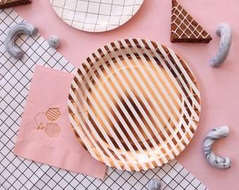 Pink Geometric Copper Foil Napkins -  rose gold metallic printed stamped napkins - elegant - engagement baby shower wedding birthday party