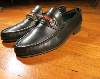 Gucci Men's EU 46 D Bit Loafers US 12.5 13 13.5 Black Leather Sole Penny Leather Sole Made in Italy Vintage