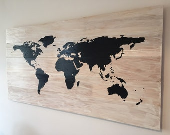 World Map - white washed or stained wood