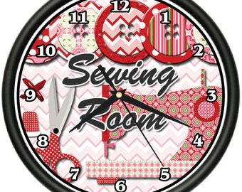 Sewing Room Wall Clock Seamstress Tailor Fabric Crafts Gift